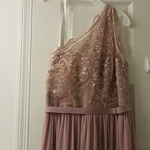 One shoulder rose gold dress